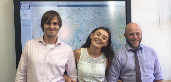 Photo: (L-R) Tele-Gence sales executives Owen Allerton, Stephanie Grayshon, Alexander Durrans