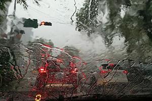 Driving in heavy rain