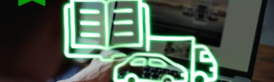 Photo of a man on a laptop, whilst a green drawing of a book, a car and a van are placed on top of the image