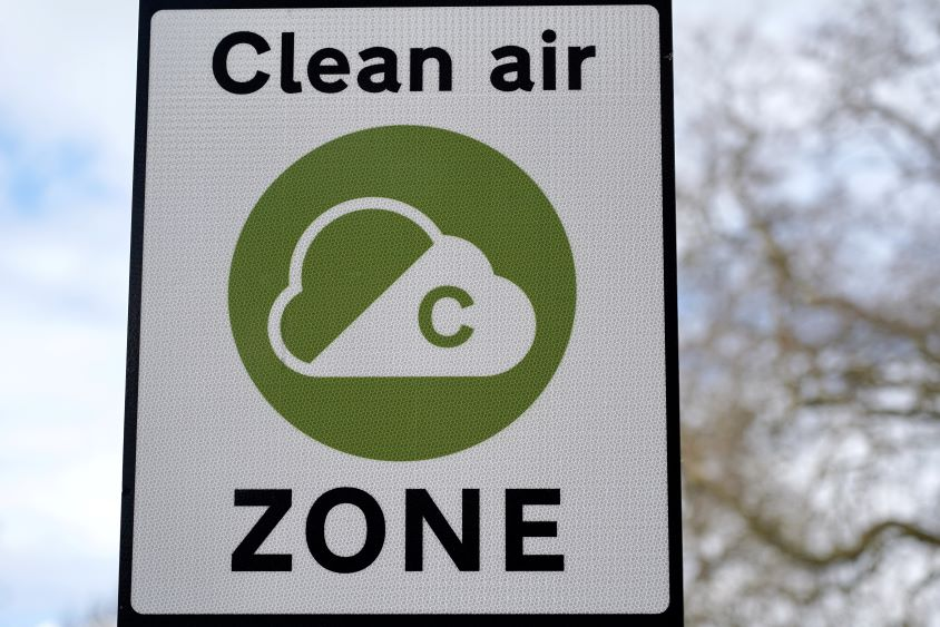 Roadside sign indicating a clean air zone