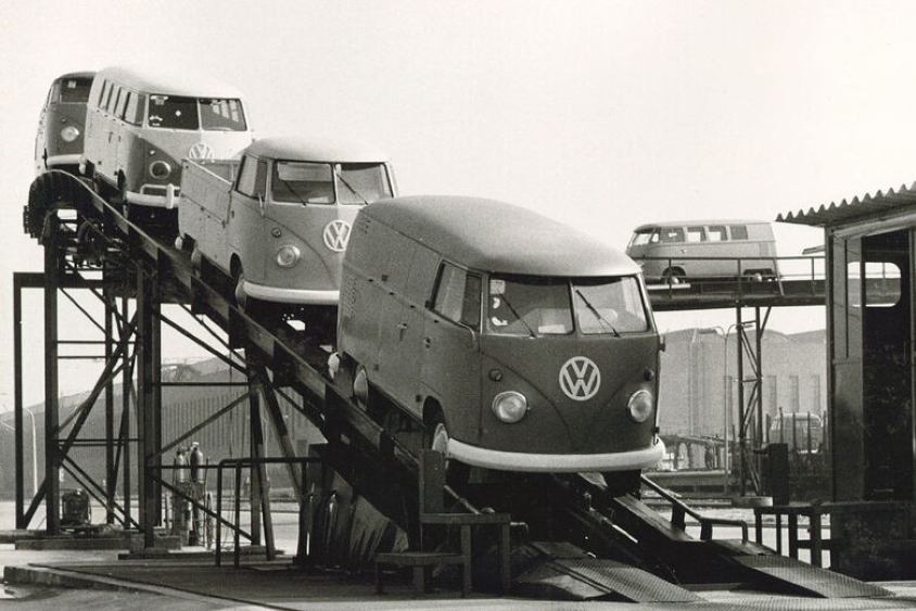 B&W photo of old VW vans on production line