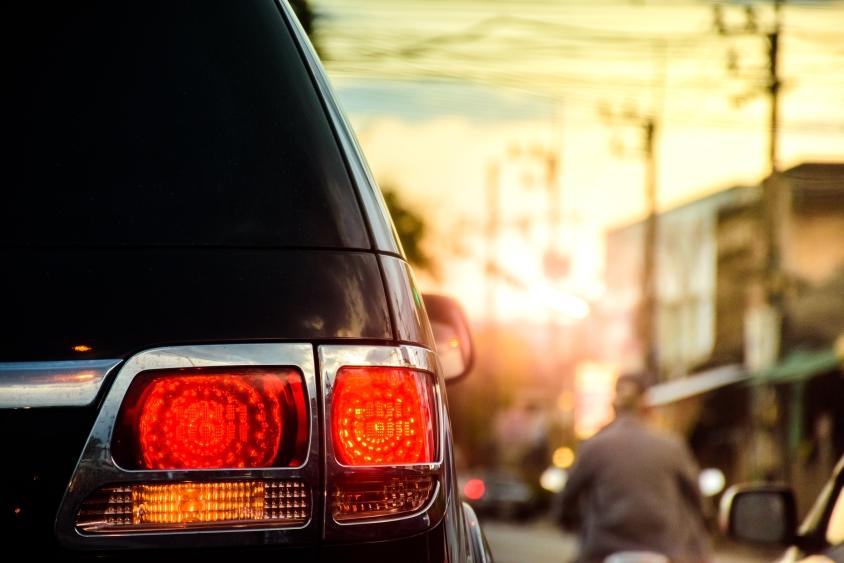 Brake light of a black car