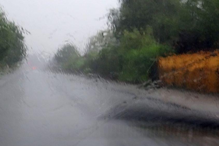 Rain on windscreen from interior of car