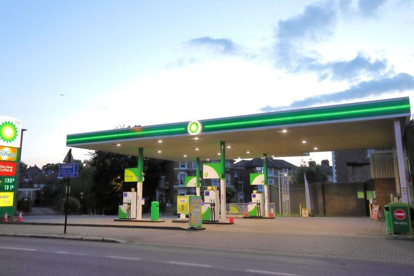 BP fuelling station at eveningtime