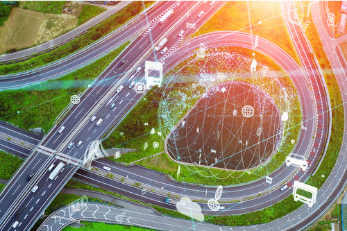 Image of a motorway with digital data overlay