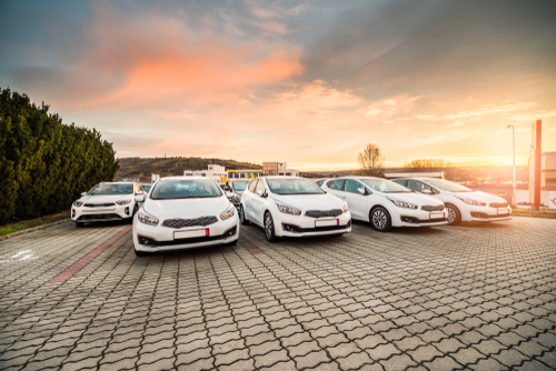 Fleet of new cars on a forecourt
