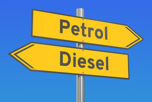 Image of signs reading 'petrol' and 'diesel', pointing in opposite directions