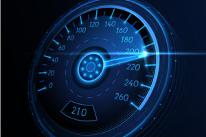 Digital image of a speedometer at high performance