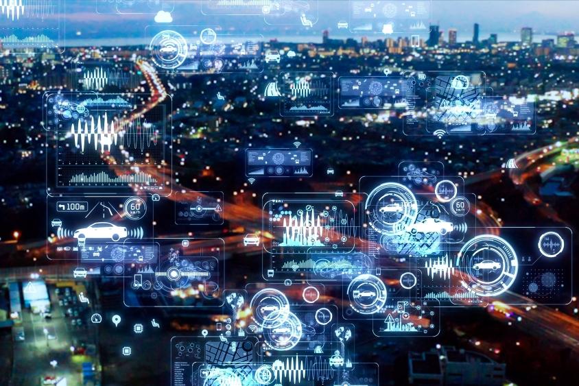City motorway at night with digital data overlay