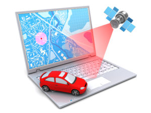 Digital image of car with GPS tracking enabled