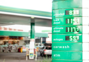 Fuel station with prices on display board