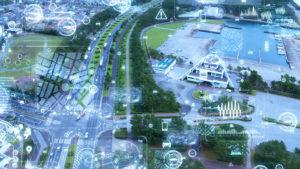 Motorway with overlay of digital data