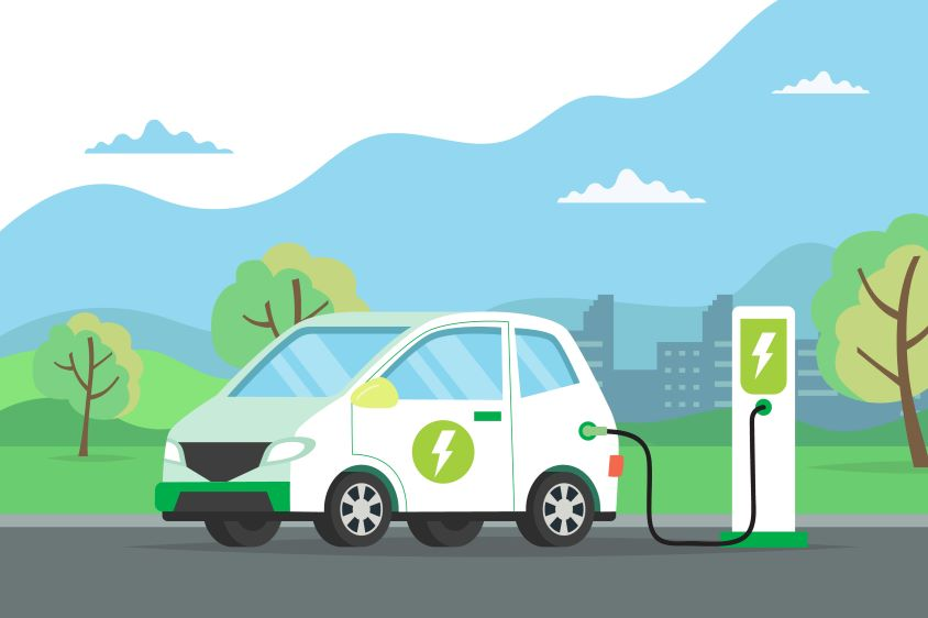 An illustration of an electric vehicle at a charging point
