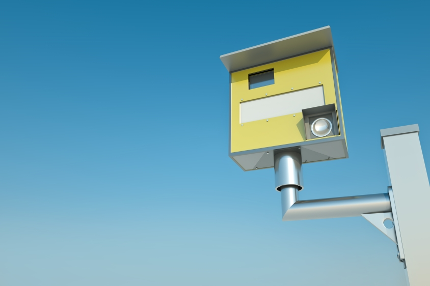 3D render of a yellow speed camera