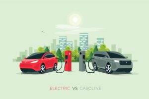 Cartoon electric and petrol car, charging and refuelling