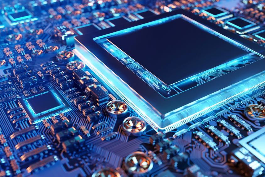 Graphic of semiconductor microchip