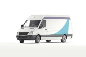 White van with blue and purple decor