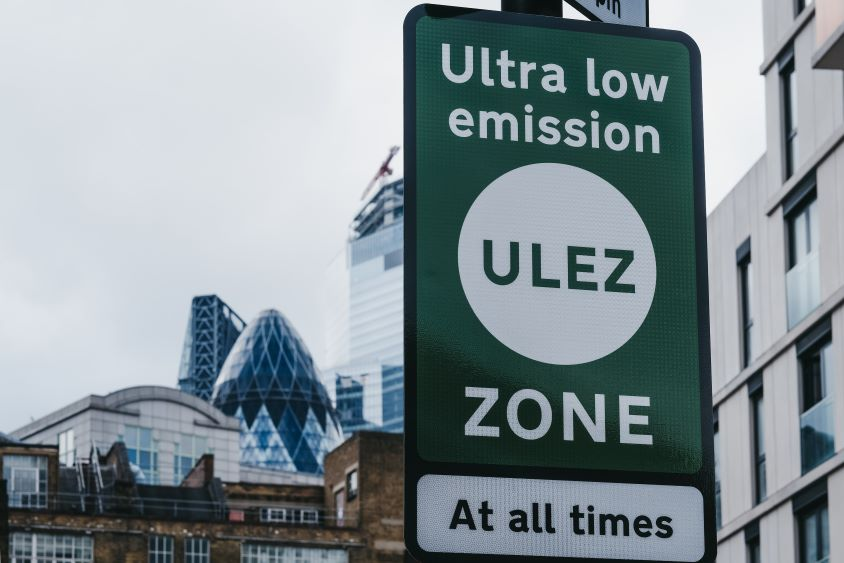 Ultra low emission zone sign in London