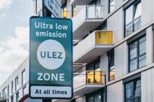 ULEZ sign next to apartments