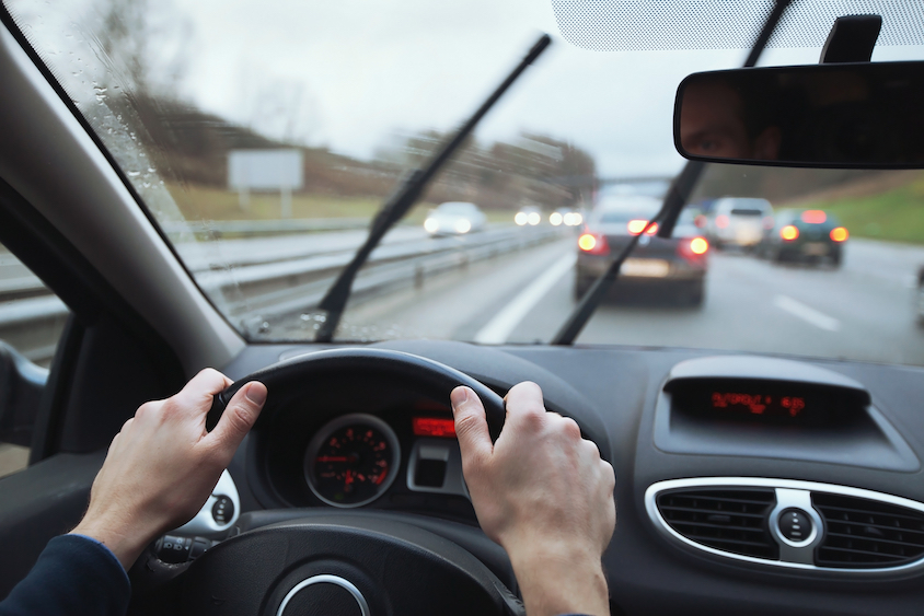 Driving in rain, windscreen wipers on