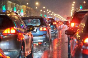 Traffic at night in rain